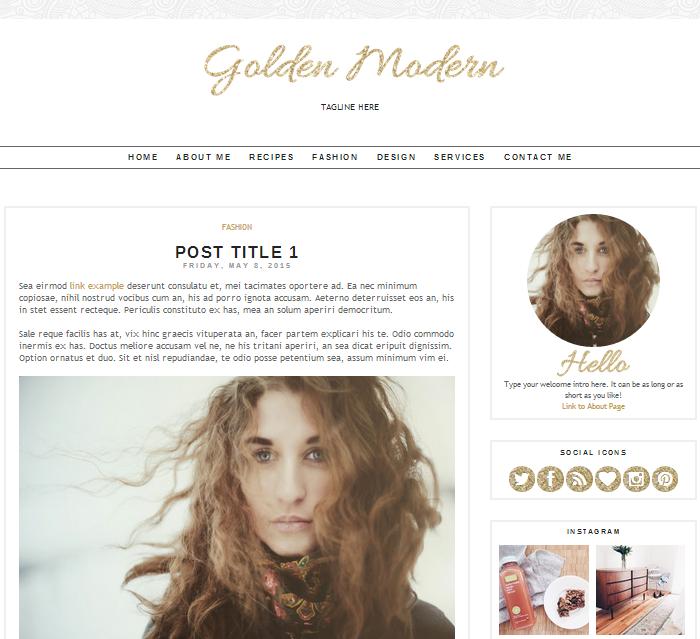 golden modern blogger theme