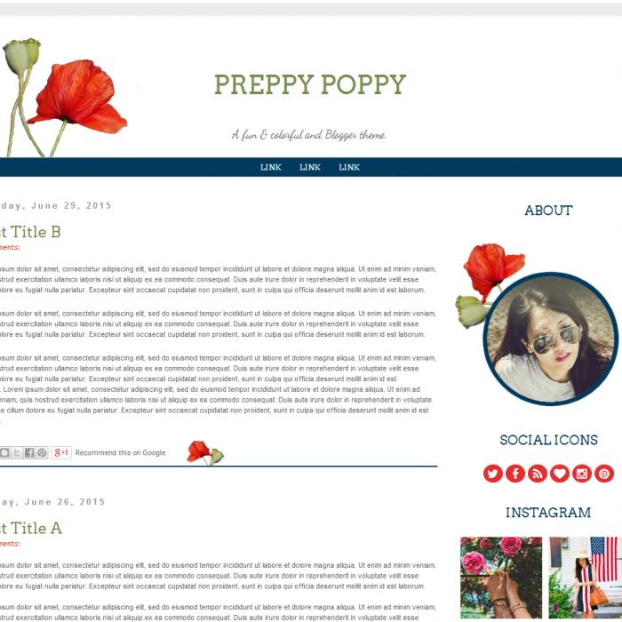 preppy poppy blogger theme