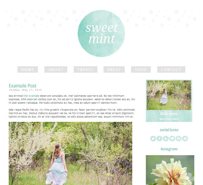 sweet mint blogger theme